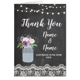 Thank You Cards Bridal Jar Lace Wedding Folded