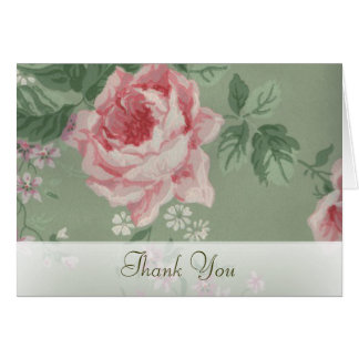 Thank You Cards for Green and Pink Rose Wedding