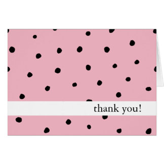 Thank You Cards Polka Dot Black and Pink
