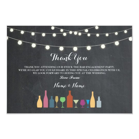 Thank You Cards Stock The Bar Lights Drinks Chalk