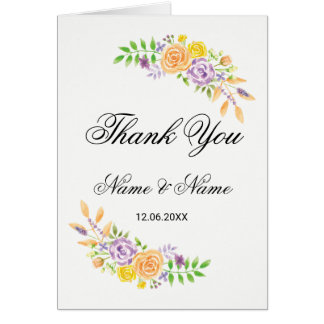 Thank You Cards Wedding Guest Floral Purple Peach