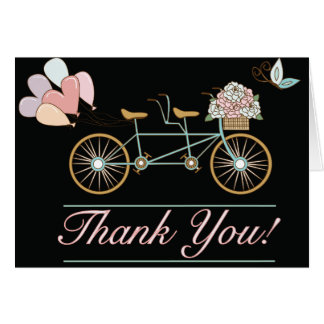 Thank You Cards Wedding Tandem Bicycle Balloons