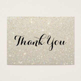 Thank You Cards - White Gold Glitter Fab