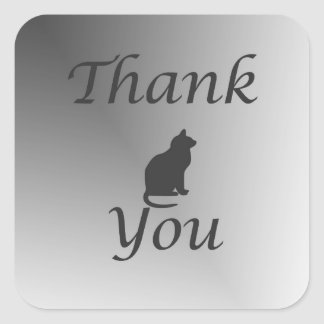 Thank You Cat Silhouette Black and White Square Sticker