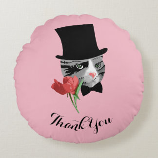Thank You Cat with Flower Round Pillow