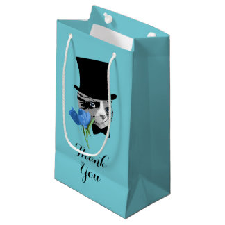 Thank You Cat with Flower Small Gift Bag