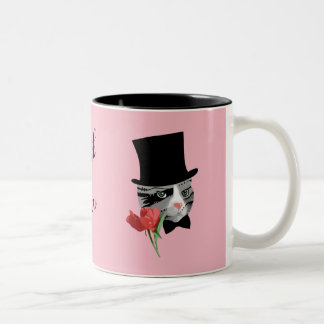 Thank You Cat with Flower Two-Tone Coffee Mug