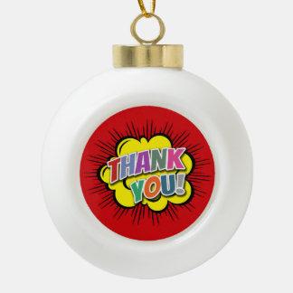 Thank You Ceramic Ball Christmas Ornament