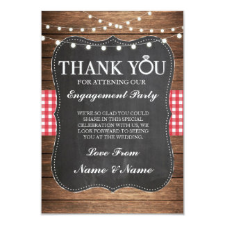 Thank You Chalk Wood Rustic Red Check Card