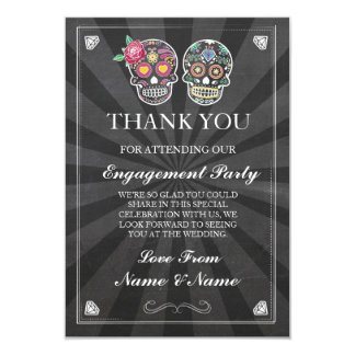 Thank You Chalkboard Rustic Sugar Skull Card