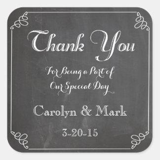 Thank You, Chalkboard Vintage Wedding Favor Labels Square Sticker