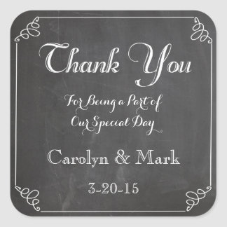 Thank You, Chalkboard Vintage Wedding Favour Square Sticker
