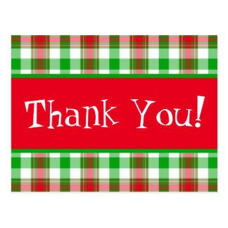 Thank You Christmas Plaid Postcard