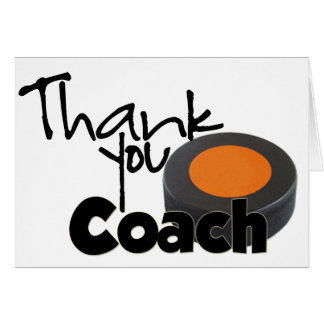 Thank You Coach Hockey Greeting Cards