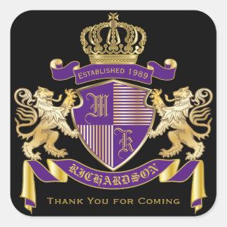 Thank You Coat of Arms Monogram Golden Lion Emblem Square Sticker