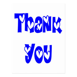 Thank You Cobalt Blue And White Hearts Wedding Postcard
