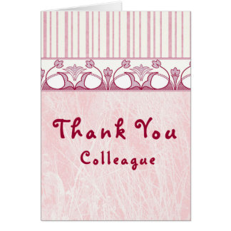 Thank You Colleague Blank Card Pink with Border