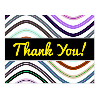 """Thank You!"" + Colorful Wavy Lines Pattern Postcard"