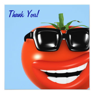 "Thank You! Cool Tomato Thankyou 5.25"" Square Invitation Card"