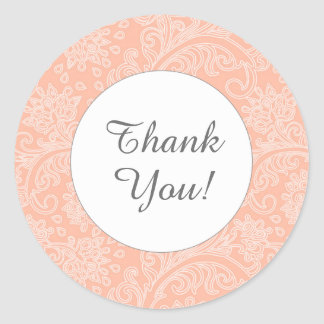 Thank you coral damask round favor stickers
