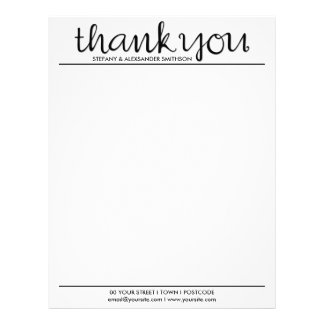 Thank You Cursive black Letterhead