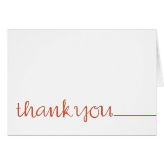 Thank You Cursive long tangerine Note Card