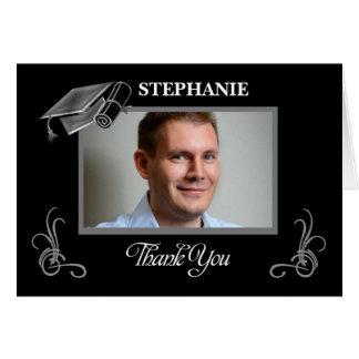 Thank You Custom Photo & Name Graduation Black Card