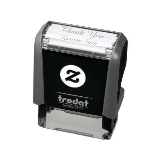thank you (custom text) with name, simple self-inking stamp
