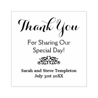 Thank You Custom Wedding Date Rubber Stamp