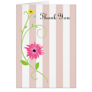 Thank You Cute And Girly Flower With Pink Stripes Greeting Card