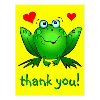 Thank You Cute Green Frog Hearts Yellow Postcard