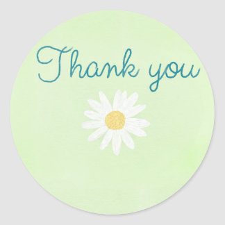 Thank you daisy classic round sticker