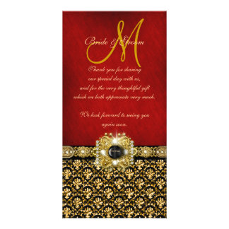 """Thank you"" damask black red gold Custom Photo Card"