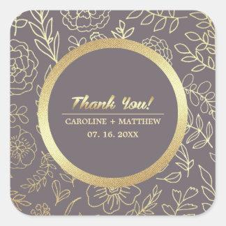 Thank You Dark Mocha   Gold Floral Wedding Sticker