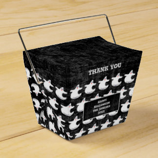 Thank You:  Diva Ghost Pattern on Textured Black Favor Box