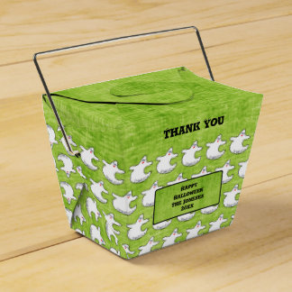 Thank You:  Diva Ghost Pattern on Textured Green Favor Box