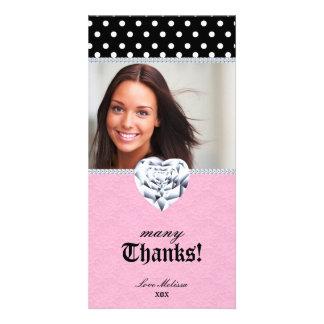Thank You Dots Lace Heart Diamonds Sweet 16 Card