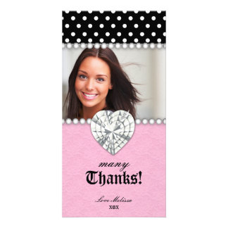 Thank You Dots Lace Pearls Jewel Sweet 16 Photo Cards