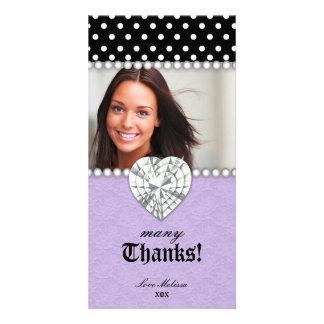 Thank You Dots Lace Pearls Jewel Sweet 16 Purple Custom Photo Card