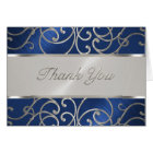 Thank You Elegant Blue and Silver Filigree Card