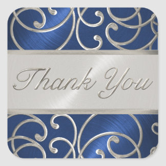 Thank You Elegant Blue and Silver Filigree Square Sticker