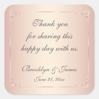 Thank You Elegant Blush Wedding Stickers