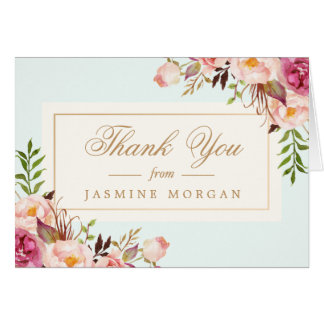 Thank You Elegant Chic Pastel Watercolor Floral Card