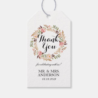 """""""Thank You"""" Elegant Floral Wreath Wedding Favor Pack Of Gift Tags"""