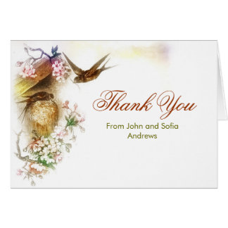 thank you elegant love birds wedding card