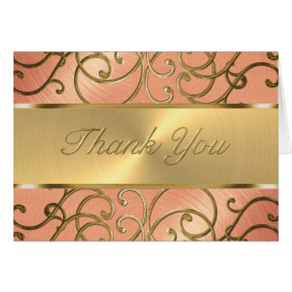 Thank You Elegant Peach and Gold Filigree Card