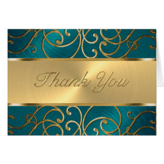 Thank You Elegant Teal Blue and Gold Filigree Note Card
