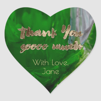 Thank You Elegant Thanks Green Gold Typography Heart Sticker