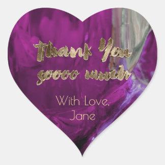 Thank You Elegant Thanks Pink Gold Typography Heart Sticker