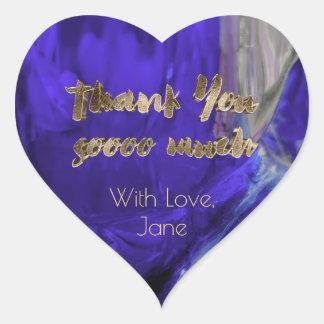 Thank You Elegant Thanks Purple Gold Typography Heart Sticker